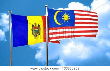 Moldova flag with Malaysia flag, 3D rendering