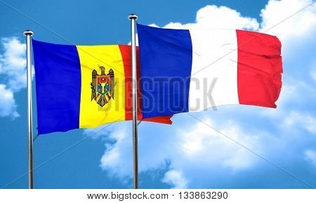 Moldova flag with France flag, 3D rendering