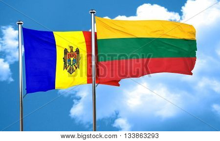 Moldova flag with Lithuania flag, 3D rendering