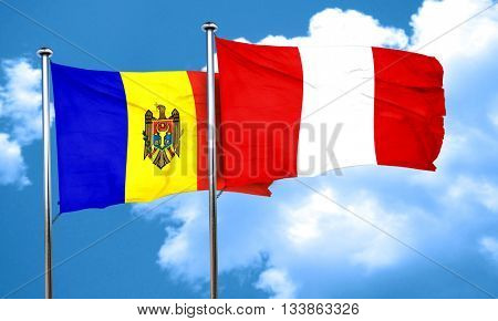 Moldova flag with Peru flag, 3D rendering