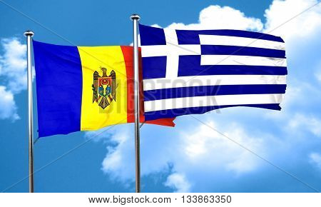 Moldova flag with Greece flag, 3D rendering