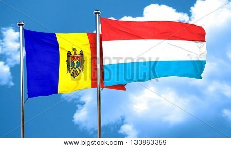 Moldova flag with Luxembourg flag, 3D rendering