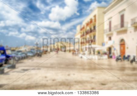 Defocused Background With View Of Gallipoli, Salento, Italy