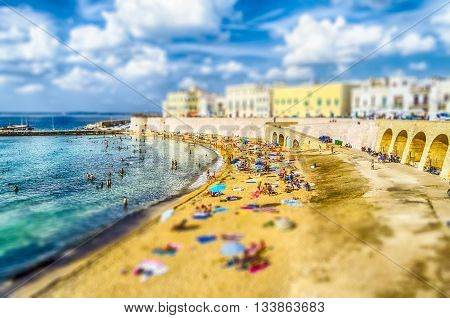 Scenic View Of Gallipoli Waterfront, Salento, Italy. Tilt-shift Effect Applied