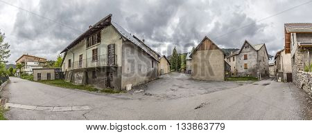 village of Le Vernet in the french Alpes in Region Provence under grey sky