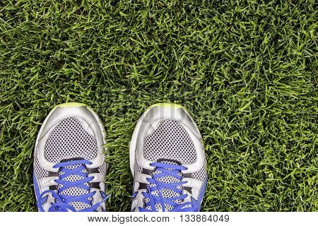 Silver running shoes on green grass of stadium.