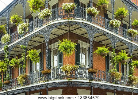 NEW ORLEANS, USA - JUNE 3, 2014: old historic New Orleans houses in french Quarter