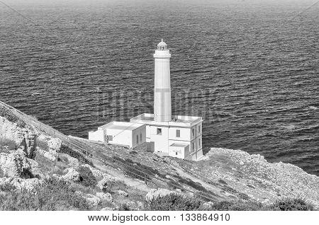 The Iconic Lighthouse Of Capo D'otranto, Salento, Apulia, Italy