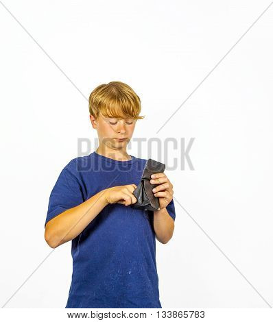 Boy Is Checking The Pocket Money In His Purse