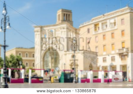 Defocused Background Of Sant'oronzo Square In Lecce, Salento, Italy