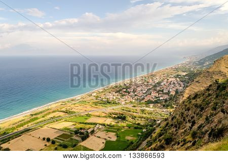 Aerial View Over The Coastline In Calabria, Italy