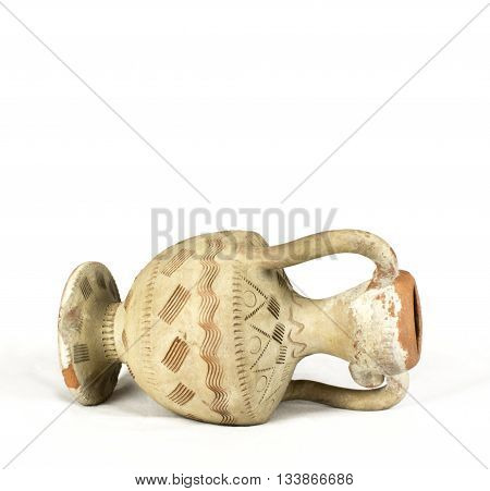 Greek ceramic vase amphora isolated on white