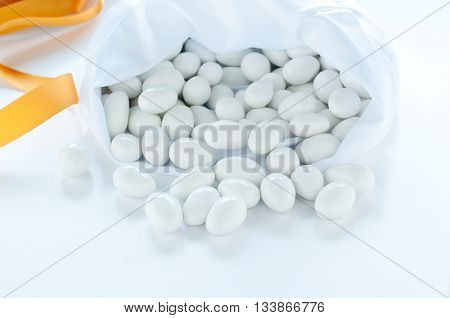 group of sugared almonds on white backgroundcandies