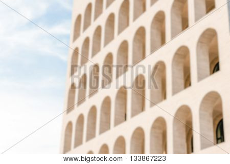 Defocused Background Of Neoclassical Architecture In Rome, Italy