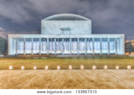 Defocused Background With Palace Of Congress, Eur District, Rome, Italy