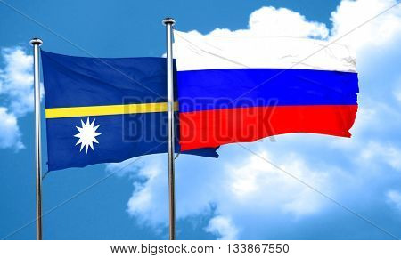 Nauru flag with Russia flag, 3D rendering