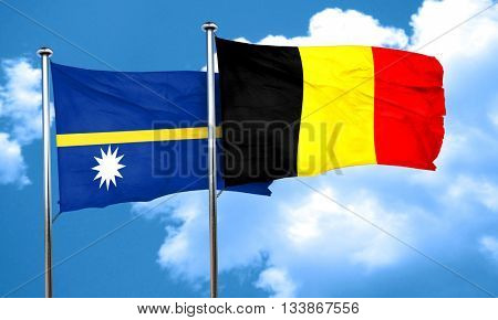 Nauru flag with Belgium flag, 3D rendering