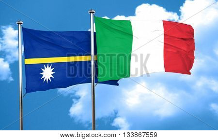 Nauru flag with Italy flag, 3D rendering