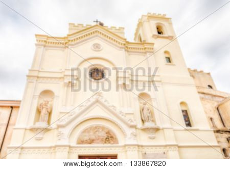 Defocused Background With Facade Of St. Francesco Church, Italy