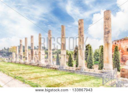 Defocused Background With Ancient Columns Of Venus Temple, Rome
