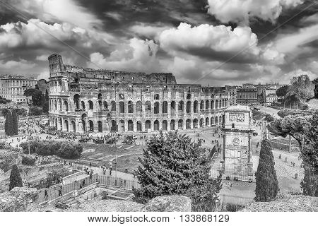 Aerial View Of The Colosseum And Arch Of Constantine, Rome