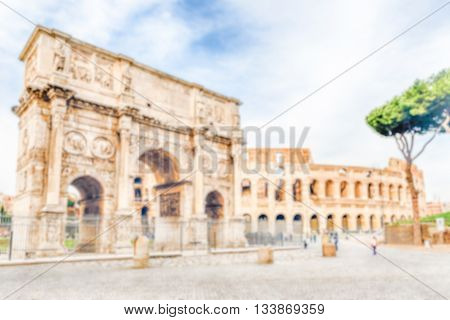 Defocused Background With The Colosseum And Arch Of Constantine, Rome