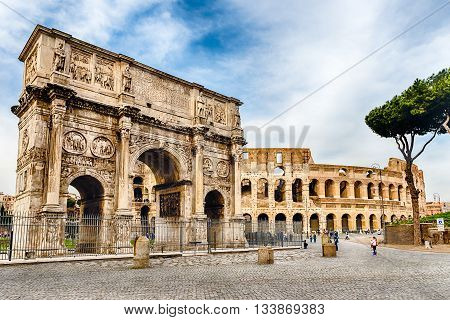 Arch Of Constantine And The Colosseum, Rome