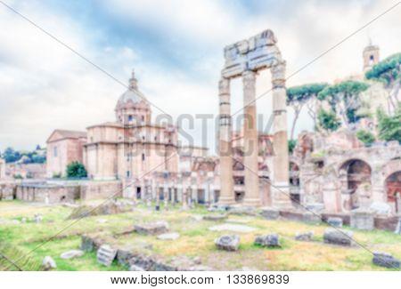 Defocused Background With Ruins At Forum Of Caesar, Rome, Italy