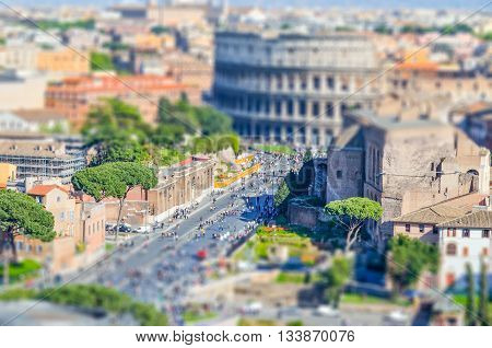 The Colosseum And The Roman Forum, Rome. Tilt-shift Effect Applied