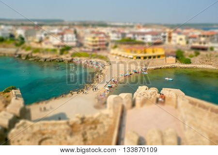 Aerial View Of Le Castella Town In Calabria. Tilt-shift Effect Applied