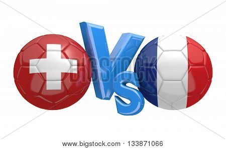Football competition between national teams Switzerland and France, 3D rendering