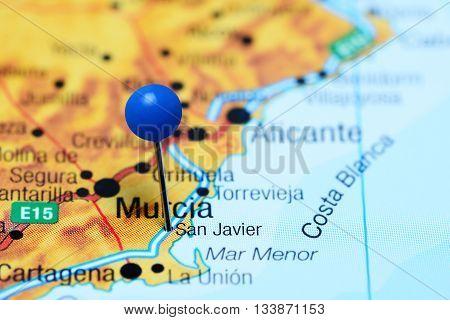 San Javier pinned on a map of Spain