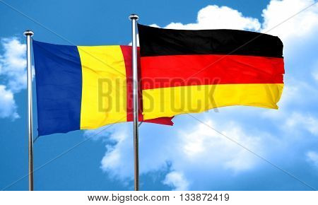 Romania flag with Germany flag, 3D rendering
