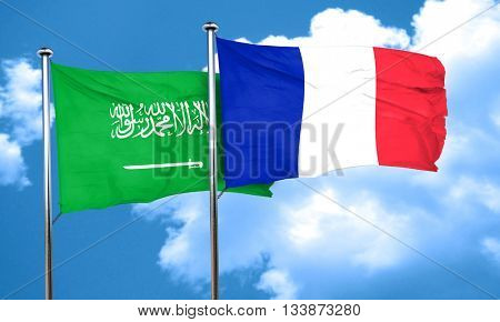 Saudi Arabia flag with France flag, 3D rendering