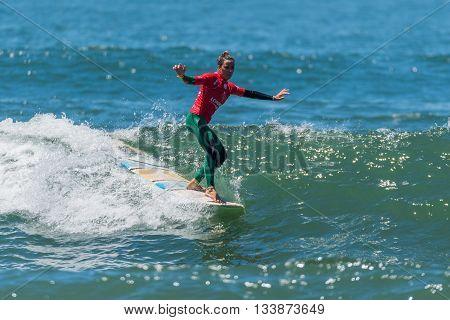 GAIA PORTUGAL - JUNE 11, 2016: Francesca Rubegni (ITA) at LQS Longboard Pro Gaia Women's Longboard Tour #3.