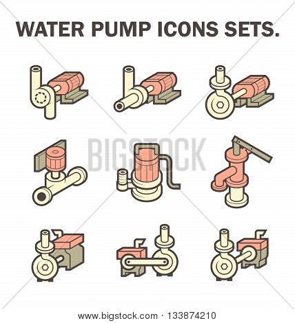 Vector design of water pump icon sets isolated on white background.
