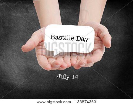 Bastille Day written on a speechbubble