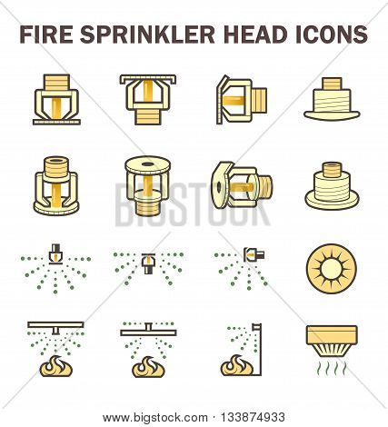 Vector icon design of fire sprinkler system include fire sprinkler head spray water and smoke detector isolated on white background.