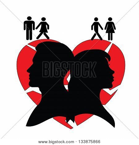 Psychology of relations. Family and relationship problems. Conflict and arroqance. Silhouette of man and woman. (Can be scaled to any size)