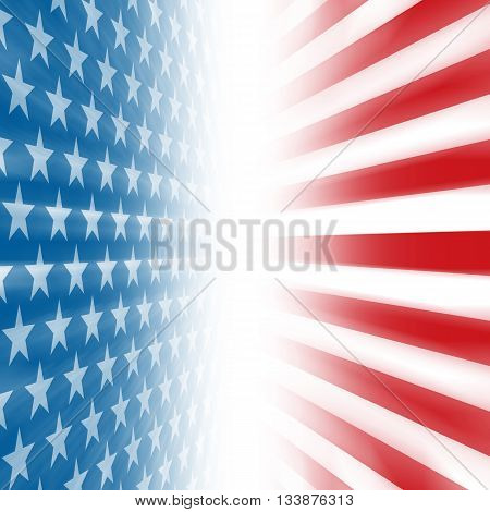 Stars and Stripes perspective background disappearing in a vertical vanishing point