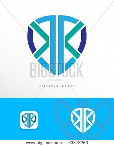 PREMIUM DESIGN , ABSTRACT, DYNAMIC SHIELD VECTOR LOGO / ICON , IN CORPORATE COLORS