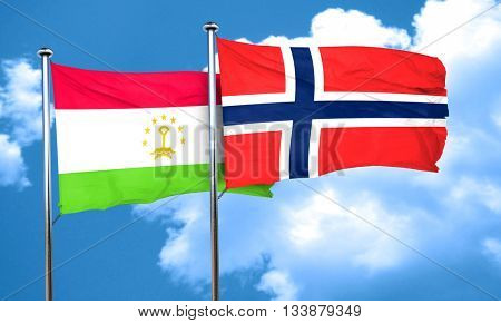 Tajikistan flag with Norway flag, 3D rendering