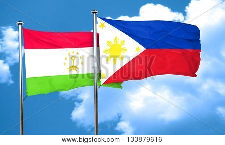 Tajikistan flag with Philippines flag, 3D rendering
