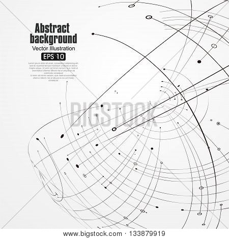 Point and curve constructed the sphere wireframe technological sense, abstract illustration.