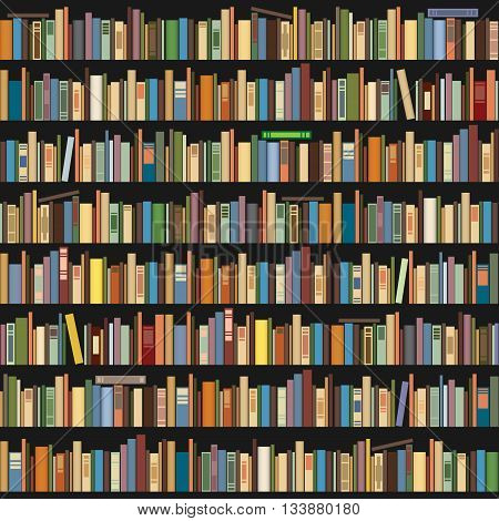 Books standing in a row on a dark background. Seamless background