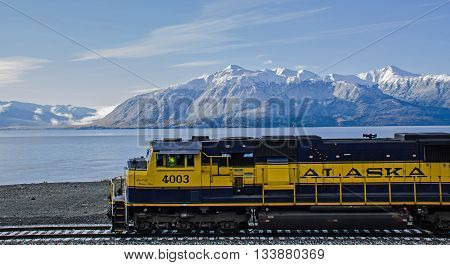Anchorage Alaska USA - September 29 2012: Alaska Railroad travels along Turnagain Arm with cruise ship passengers on the way to Seward Alaska