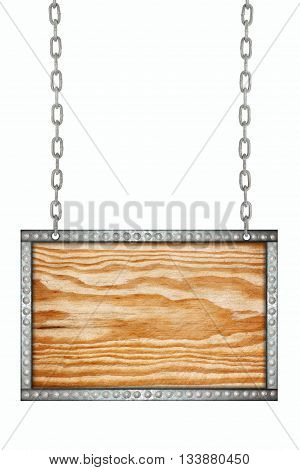 Wood signboard hanging on chains isolated for background