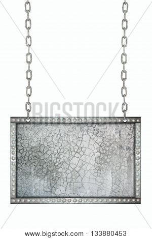 cracked cement signboard hanging on chains isolated