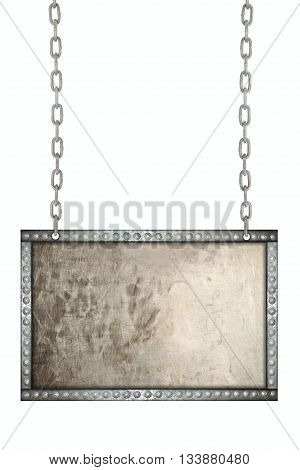 old grunge aluminum plate signboard hanging on chains isolated