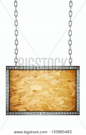 Plywood texture signboard hanging on chains isolated